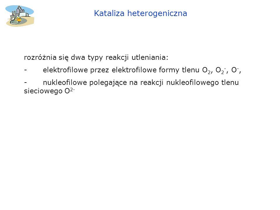 Kataliza heterogeniczna rozróżnia się dwa typy reakcji utleniania: - elektrofilowe przez elektrofilowe formy tlenu O 2, O 2 -, O -, - nukleofilowe pol