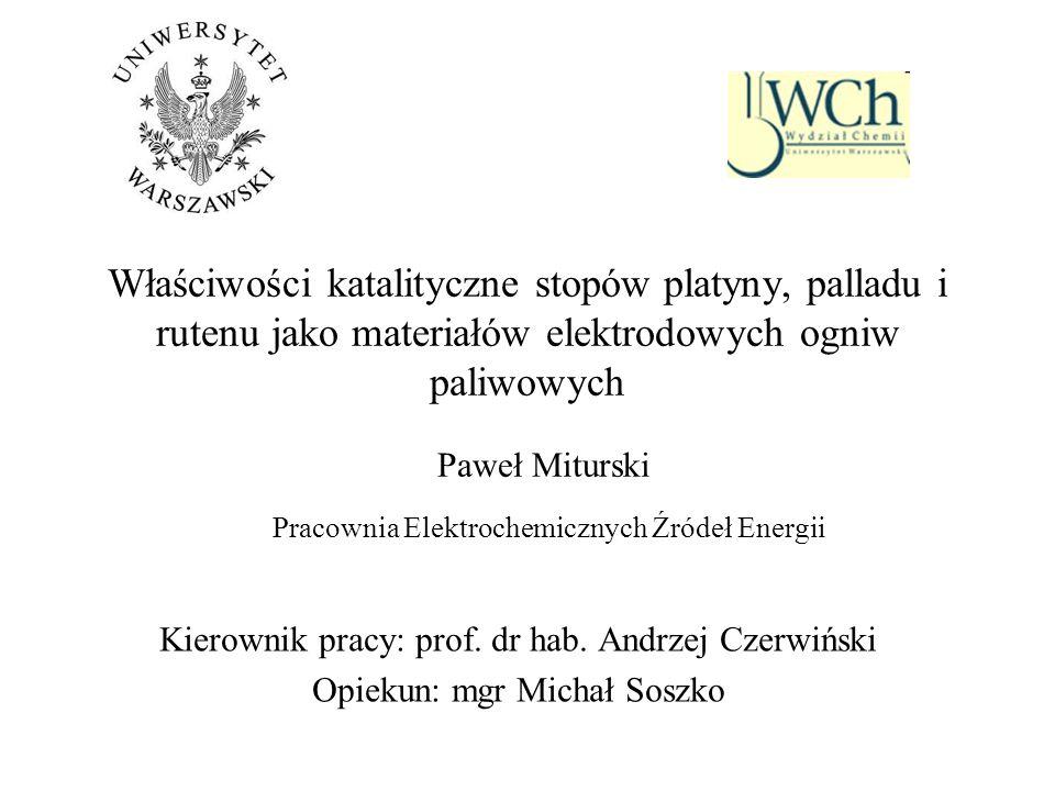 Właściwości katalityczne stopów platyny, palladu i rutenu jako materiałów elektrodowych ogniw paliwowych Kierownik pracy: prof. dr hab. Andrzej Czerwi