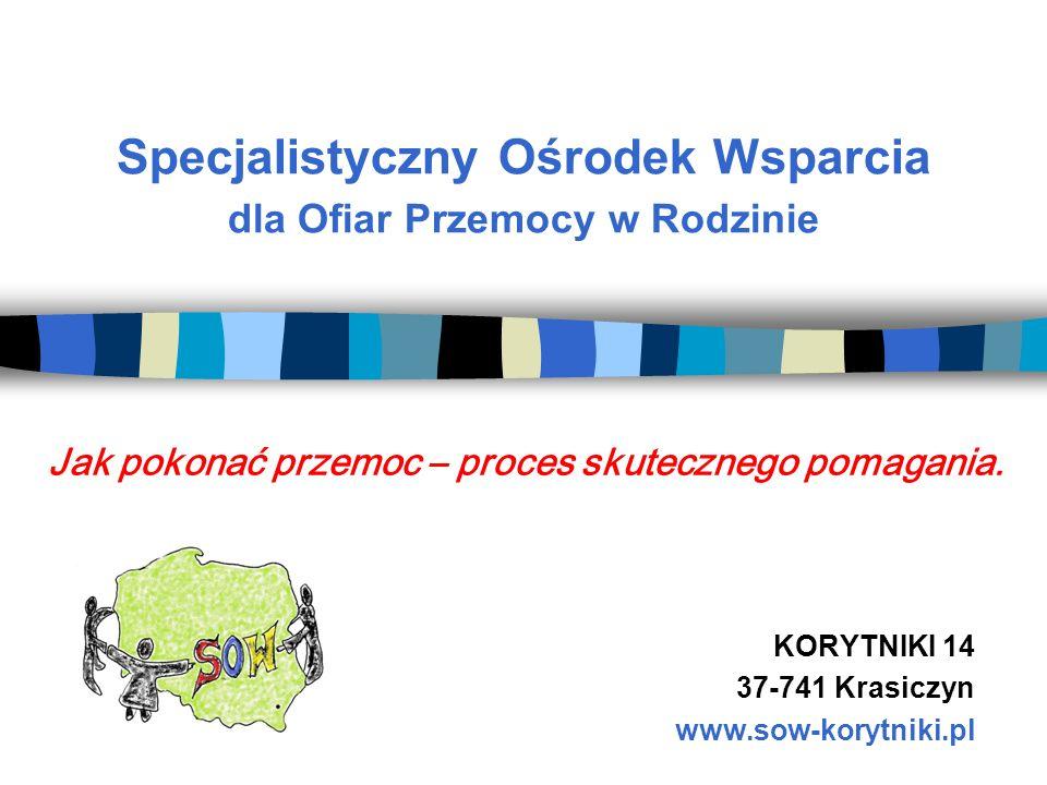 Specjalistyczny Ośrodek Wsparcia dla Ofiar Przemocy w Rodzinie KORYTNIKI 14 37-741 Krasiczyn www.sow-korytniki.pl Jak pokonać przemoc – proces skutecz