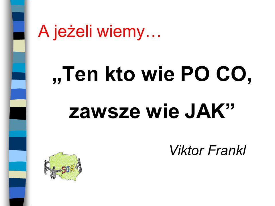 A jeżeli wiemy… Ten kto wie PO CO, zawsze wie JAK Viktor Frankl