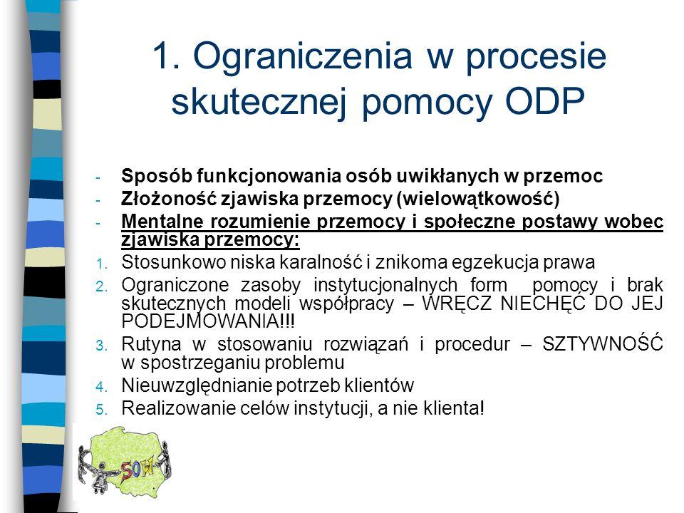 1. Ograniczenia w procesie skutecznej pomocy ODP - Sposób funkcjonowania osób uwikłanych w przemoc - Złożoność zjawiska przemocy (wielowątkowość) - Me
