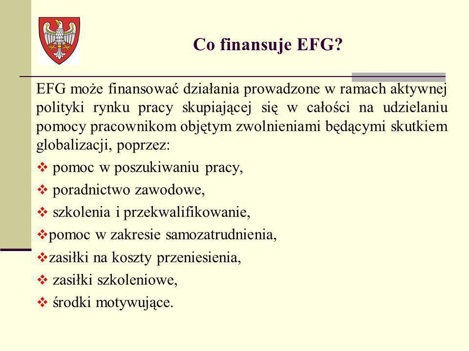 EFG może finansować działania prowadzone w ramach aktywnej polityki rynku pracy skupiającej się w całości na udzielaniu pomocy pracownikom objętym zwo