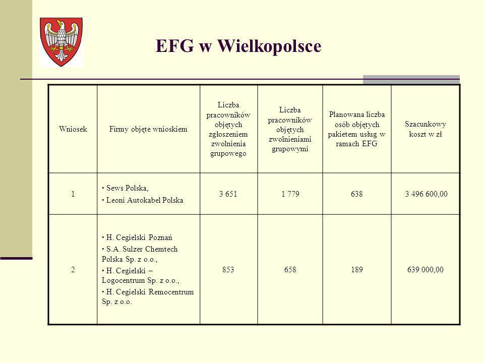 EFG w Wielkopolsce WniosekFirmy objęte wnioskiem Liczba pracowników objętych zgłoszeniem zwolnienia grupowego Liczba pracowników objętych zwolnieniami