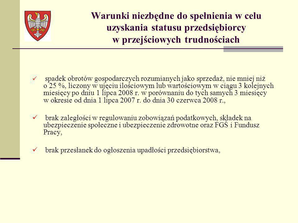 oświadczenie przedsiębiorcy, że na dzień 1 lipca 2008 r.