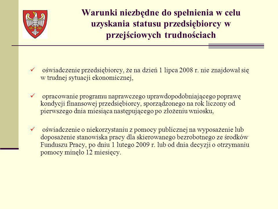 oświadczenie przedsiębiorcy, że na dzień 1 lipca 2008 r. nie znajdował się w trudnej sytuacji ekonomicznej, opracowanie programu naprawczego uprawdopo