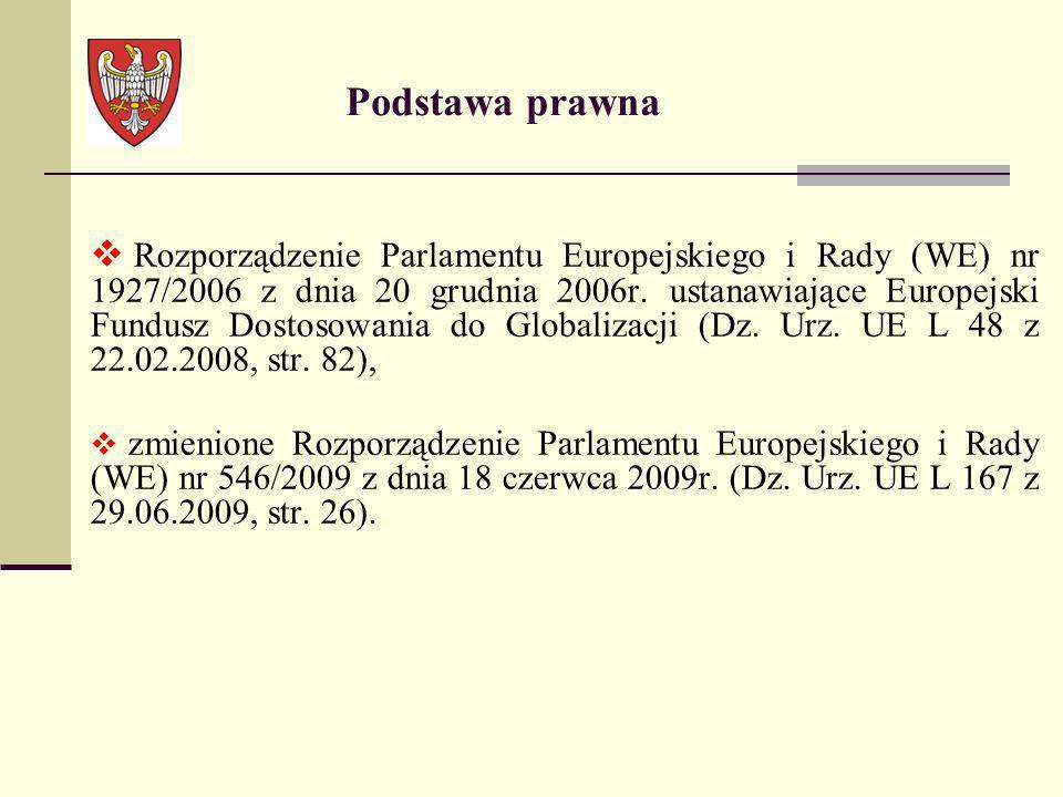 Podstawa prawna Rozporządzenie Parlamentu Europejskiego i Rady (WE) nr 1927/2006 z dnia 20 grudnia 2006r. ustanawiające Europejski Fundusz Dostosowani