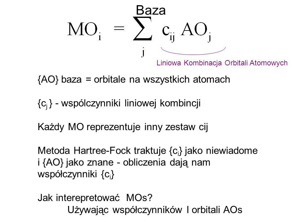 Baza {AO} baza = orbitale na wszystkich atomach {c j } - wspólczynniki liniowej kombincji Każdy MO reprezentuje inny zestaw cij Metoda Hartree-Fock tr