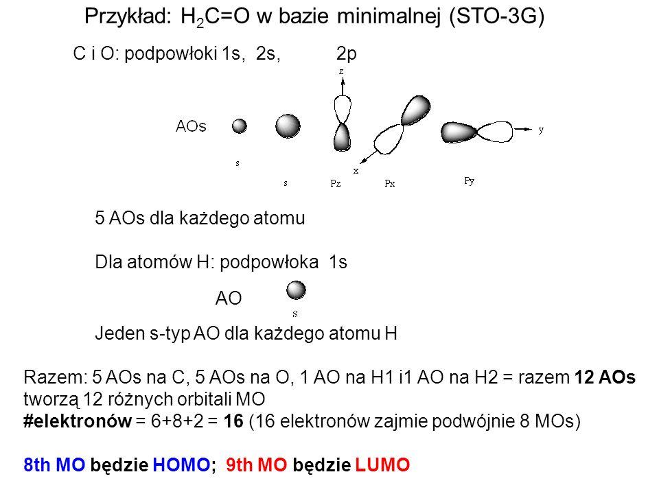 Przykład: H 2 C=O w bazie minimalnej (STO-3G) C i O: podpowłoki 1s, 2s, 2p 5 AOs dla każdego atomu Dla atomów H: podpowłoka 1s AO Jeden s-typ AO dla k