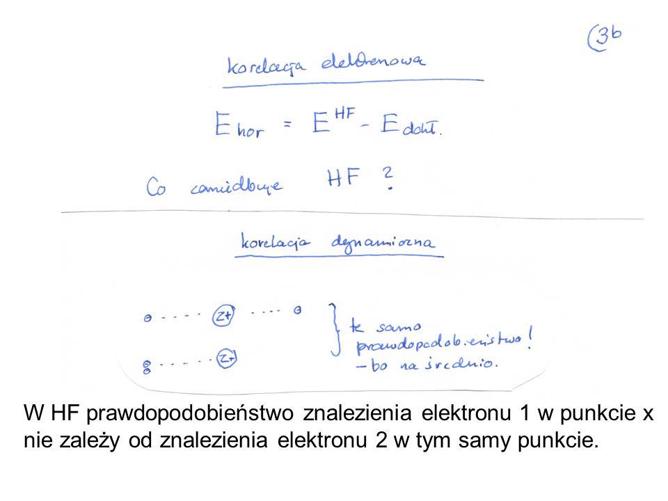 W HF prawdopodobieństwo znalezienia elektronu 1 w punkcie x nie zależy od znalezienia elektronu 2 w tym samy punkcie.
