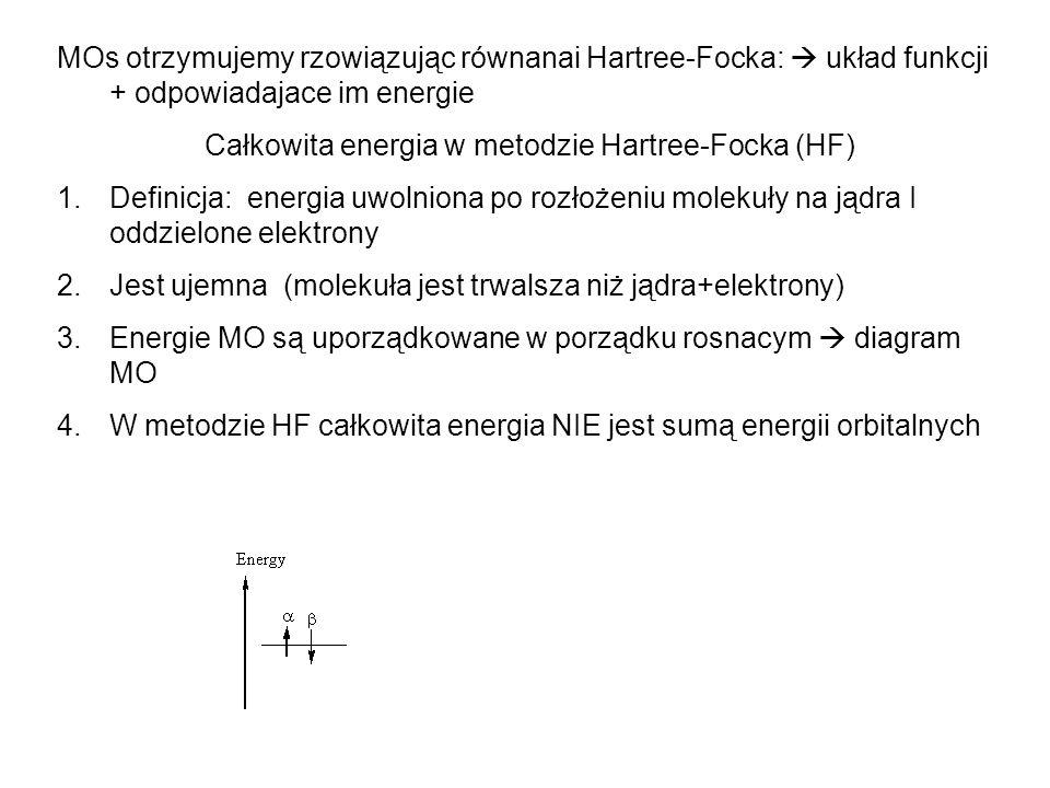 MOs otrzymujemy rzowiązując równanai Hartree-Focka: układ funkcji + odpowiadajace im energie Całkowita energia w metodzie Hartree-Focka (HF) 1.Definic