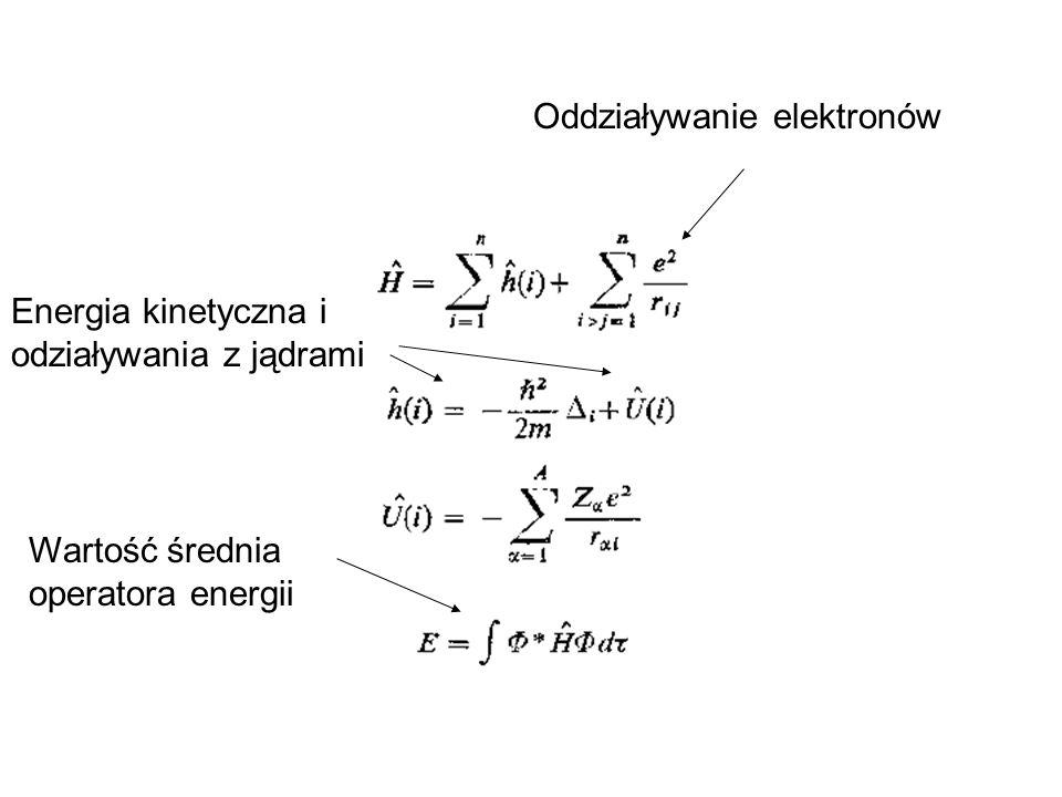 Przykład: H 2 C=O w bazie minimalnej (STO-3G) C i O: podpowłoki 1s, 2s, 2p 5 AOs dla każdego atomu Dla atomów H: podpowłoka 1s AO Jeden s-typ AO dla każdego atomu H Razem: 5 AOs na C, 5 AOs na O, 1 AO na H1 i1 AO na H2 = razem 12 AOs tworzą 12 różnych orbitali MO #elektronów = 6+8+2 = 16 (16 elektronów zajmie podwójnie 8 MOs) 8th MO będzie HOMO; 9th MO będzie LUMO