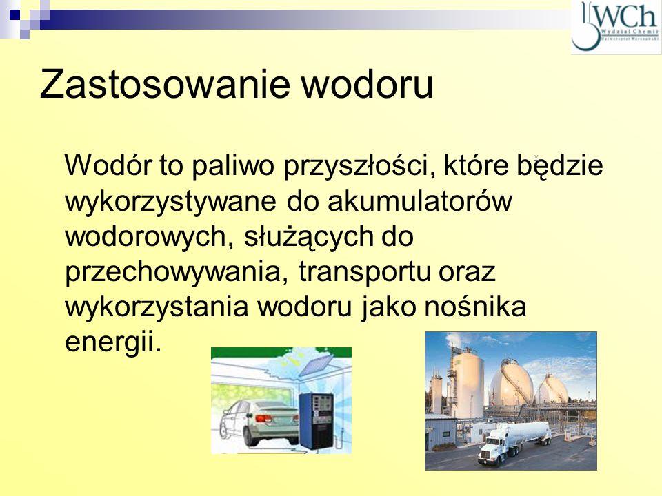 Zastosowanie wodoru Zalety: łatwodostępność, nie powoduje zanieczyszczeń środowiska, odnawialność paliwa wodorowego.