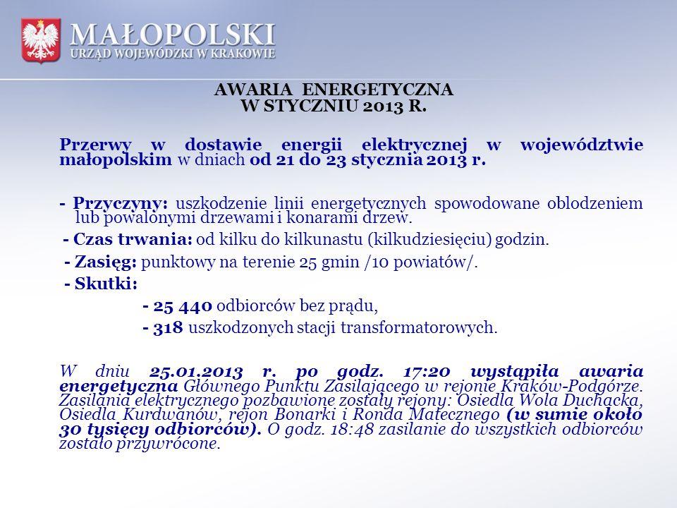 AWARIA ENERGETYCZNA W STYCZNIU 2013 R. Przerwy w dostawie energii elektrycznej w województwie małopolskim w dniach od 21 do 23 stycznia 2013 r. - Przy