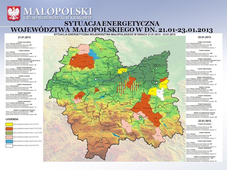 SYTUACJA ENERGETYCZNA WOJEWÓDZTWA MAŁOPOLSKIEGO W DN. 21.01-23.01.2013