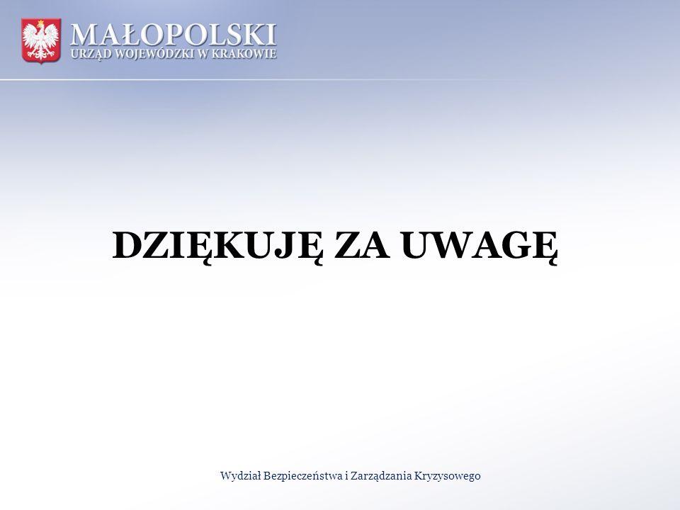 DZIĘKUJĘ ZA UWAGĘ Wydział Bezpieczeństwa i Zarządzania Kryzysowego