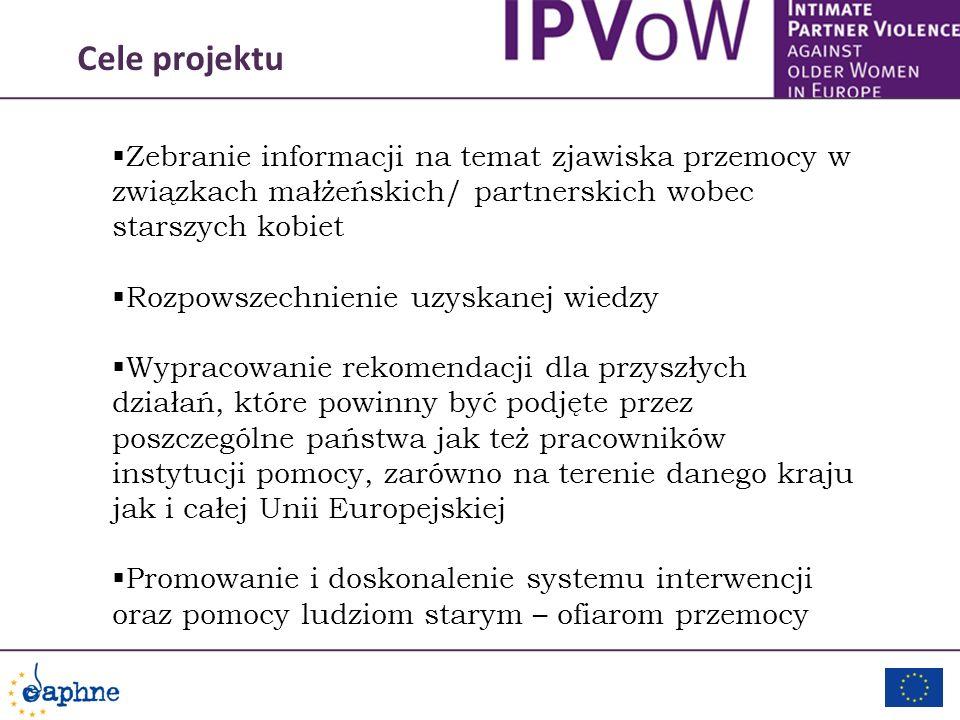 Cele projektu Zebranie informacji na temat zjawiska przemocy w związkach małżeńskich/ partnerskich wobec starszych kobiet Rozpowszechnienie uzyskanej