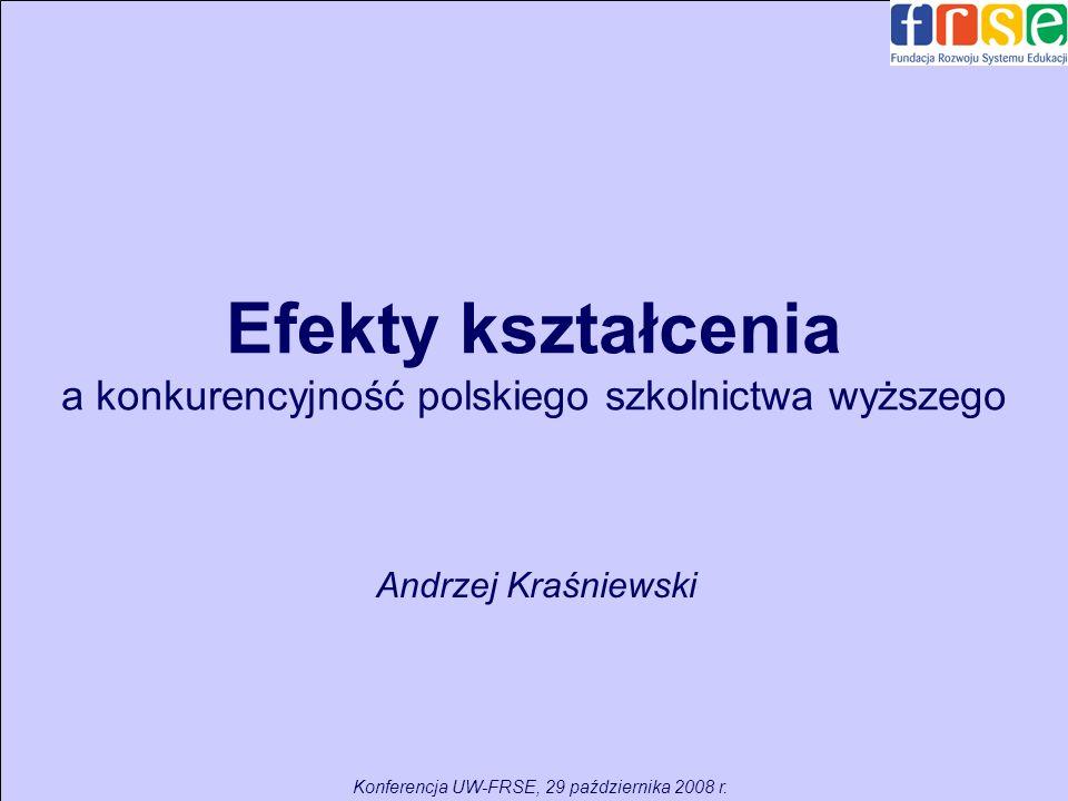 Efekty kształcenia a konkurencyjność polskiego szkolnictwa wyższego Andrzej Kraśniewski Konferencja UW-FRSE, 29 października 2008 r.