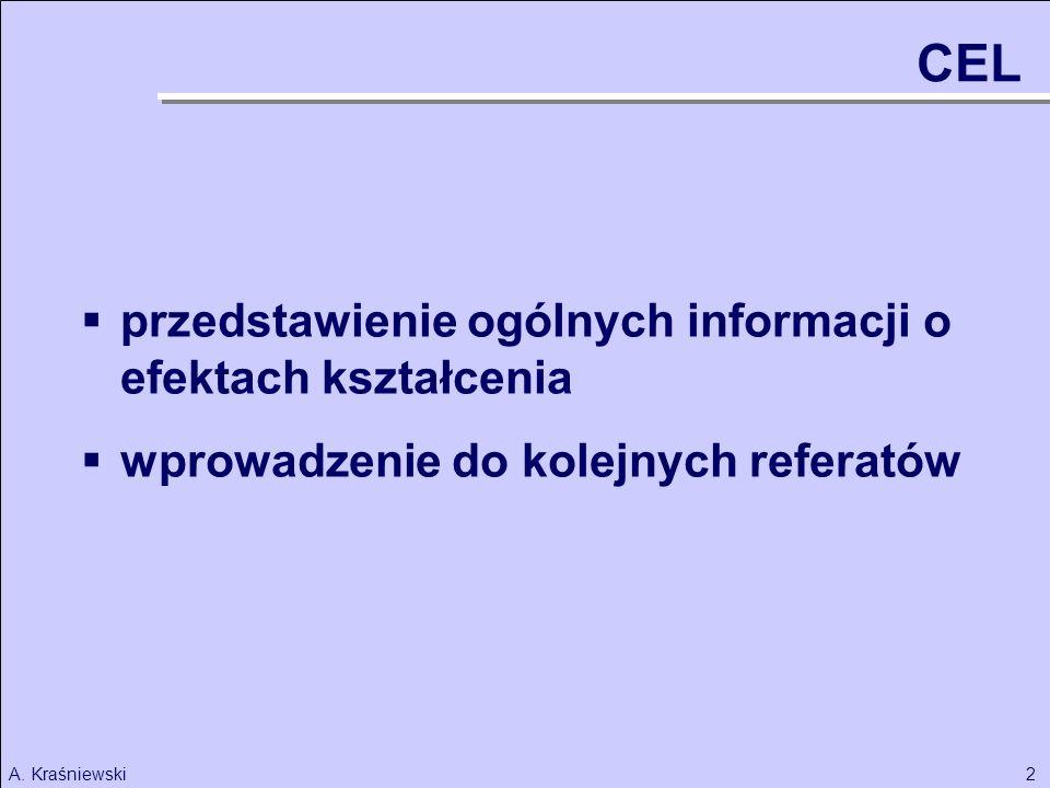2A. Kraśniewski przedstawienie ogólnych informacji o efektach kształcenia wprowadzenie do kolejnych referatów CEL