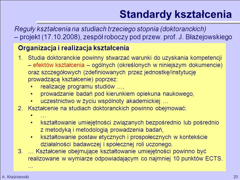 20A. Kraśniewski Organizacja i realizacja kształcenia 1.Studia doktoranckie powinny stwarzać warunki do uzyskania kompetencji – efektów kształcenia –