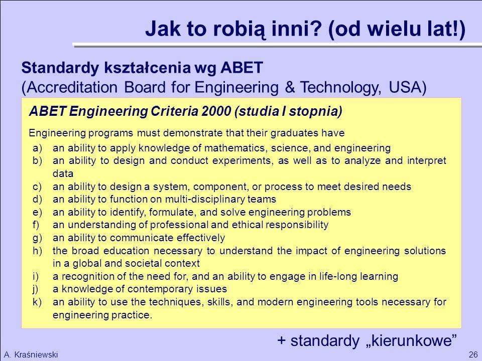 26A. Kraśniewski Standardy kształcenia wg ABET (Accreditation Board for Engineering & Technology, USA) a)an ability to apply knowledge of mathematics,