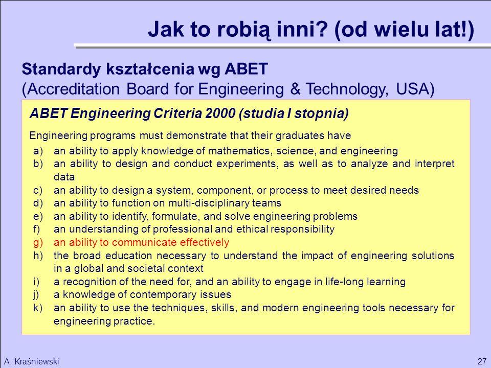 27A. Kraśniewski Standardy kształcenia wg ABET (Accreditation Board for Engineering & Technology, USA) a)an ability to apply knowledge of mathematics,