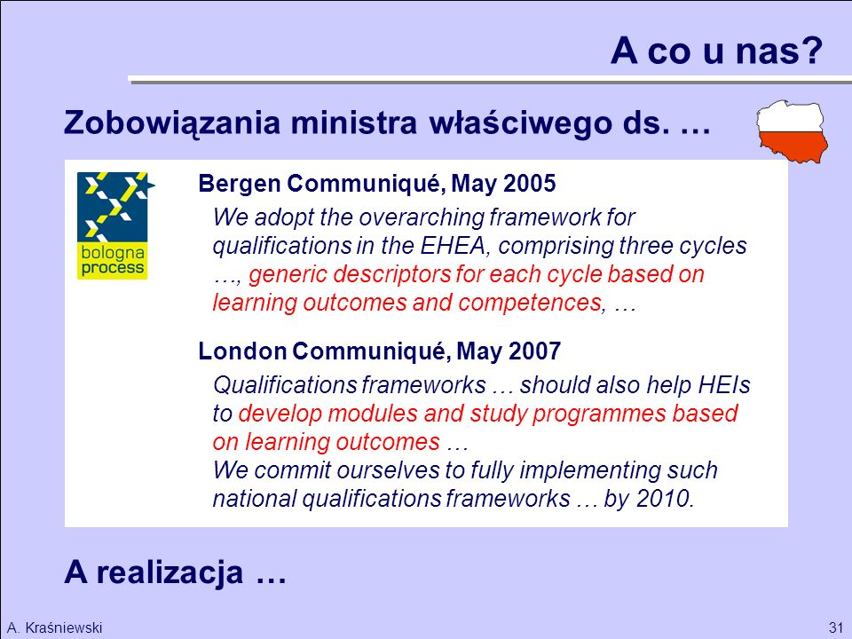 31A. Kraśniewski We adopt the overarching framework for qualifications in the EHEA, comprising three cycles …, generic descriptors for each cycle base