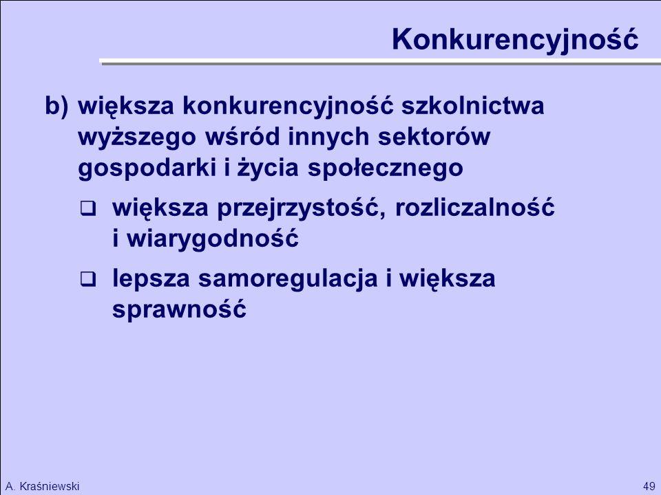 49A. Kraśniewski Konkurencyjność b)większa konkurencyjność szkolnictwa wyższego wśród innych sektorów gospodarki i życia społecznego większa przejrzys