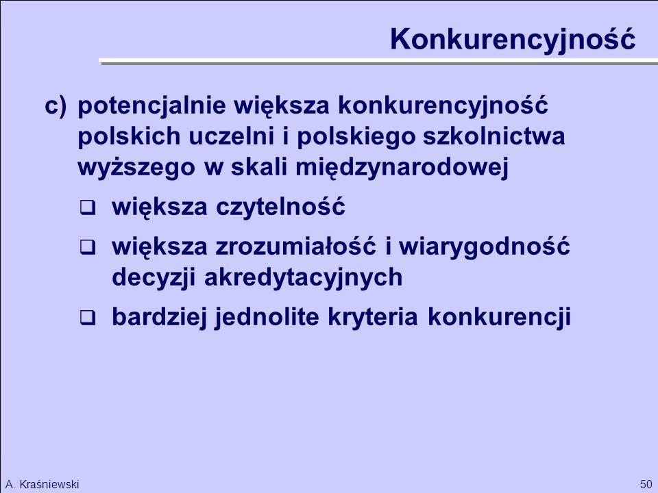 50A. Kraśniewski Konkurencyjność c)potencjalnie większa konkurencyjność polskich uczelni i polskiego szkolnictwa wyższego w skali międzynarodowej więk