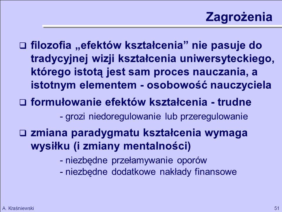 51A. Kraśniewski filozofia efektów kształcenia nie pasuje do tradycyjnej wizji kształcenia uniwersyteckiego, którego istotą jest sam proces nauczania,