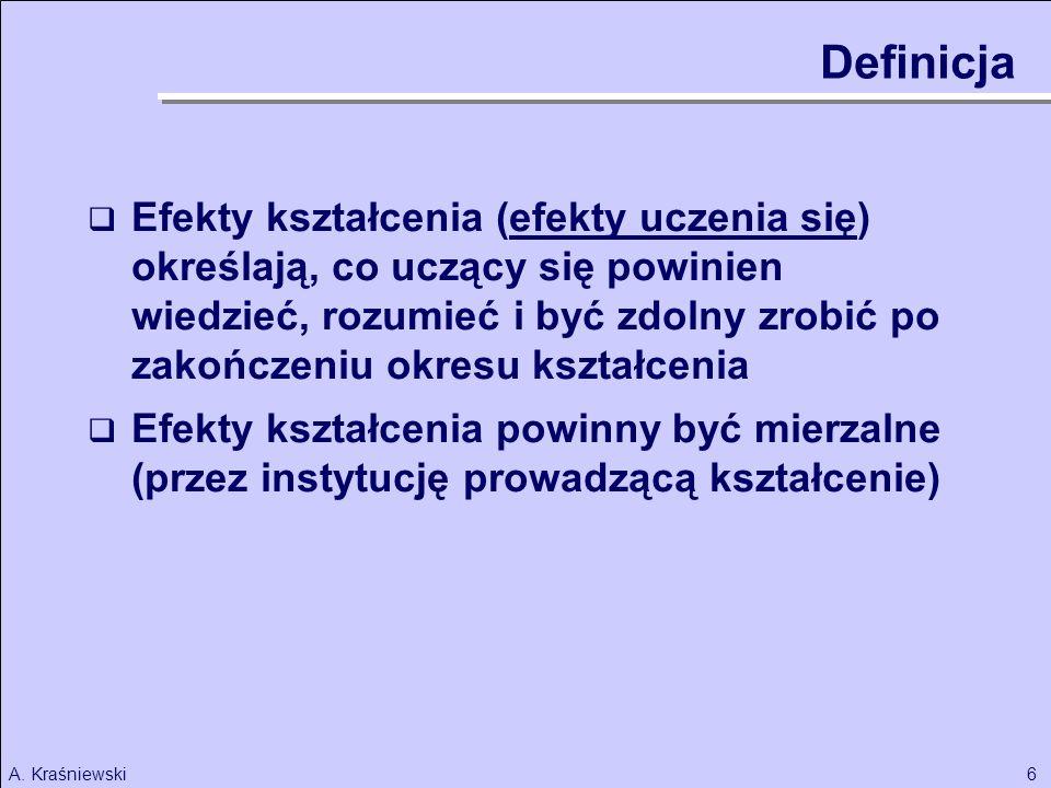 6A. Kraśniewski Efekty kształcenia (efekty uczenia się) określają, co uczący się powinien wiedzieć, rozumieć i być zdolny zrobić po zakończeniu okresu