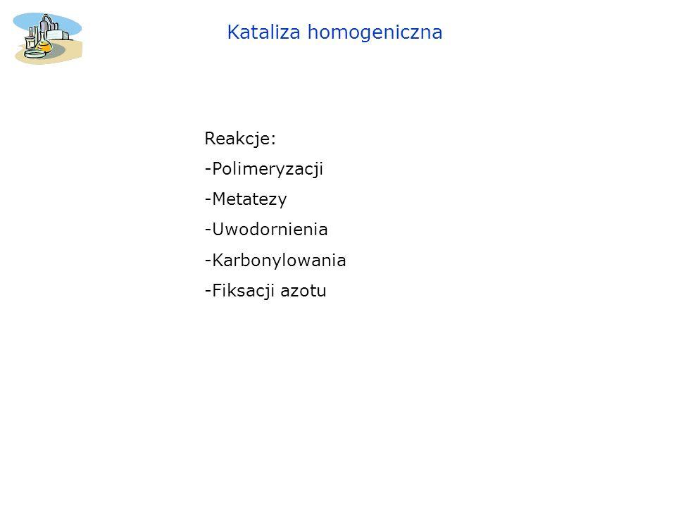 Kataliza homogeniczna Homogeniczny katalizator Zieglera-Natty VCl 4 /Et 2 AlCl – polimeryzacja syndiotaktyczna