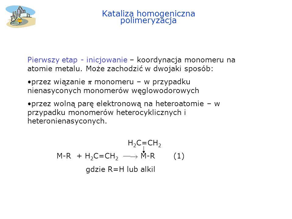 Drugi etap - propagacja ( wzrost łańcucha ) – migracja alkilu H 2 C=CH 2 M-R M-CH 2 -CH 2 -Rgdzie R=H lub alkil(2) Trzeci etap terminacja - eliminacja wodoru od -węgla do centrum katalitycznego i zakończenie łańcucha polimeru.