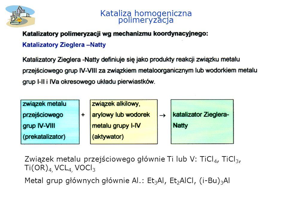 Kataliza homogeniczna polimeryzacja Polimeryzacja propylenu Regioselektywność w polimeryzacji jednopodstawionych olefin si re Izotaktyczne makrocząstki – w wyniku powtarzanego przyłączania si lub re Syndiotaktyczne makrocząstki w wyniku naprzemiennego przyłączania si, re, si, re....