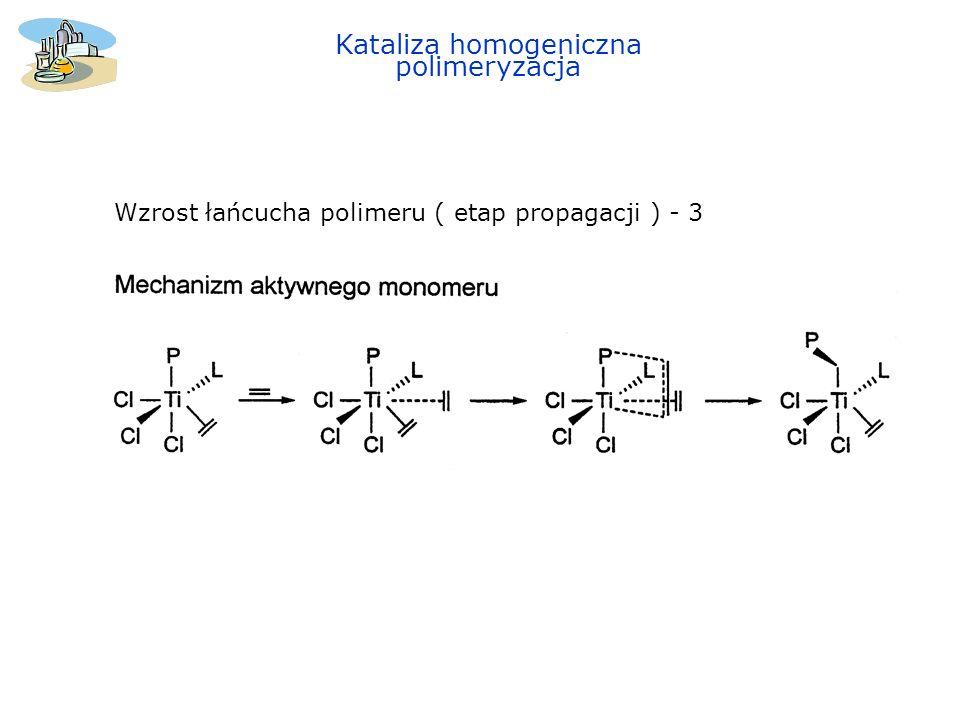 Kataliza homogeniczna polimeryzacja Zakończenie łańcucha polimeru ( etap terminacji ) 1.