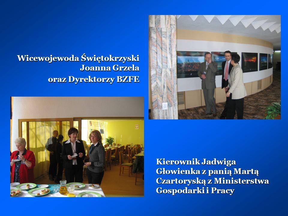 Kierownik Jadwiga Głowienka z panią Martą Czartoryską z Ministerstwa Gospodarki i Pracy Wicewojewoda Świętokrzyski Joanna Grzela oraz Dyrektorzy BZFE