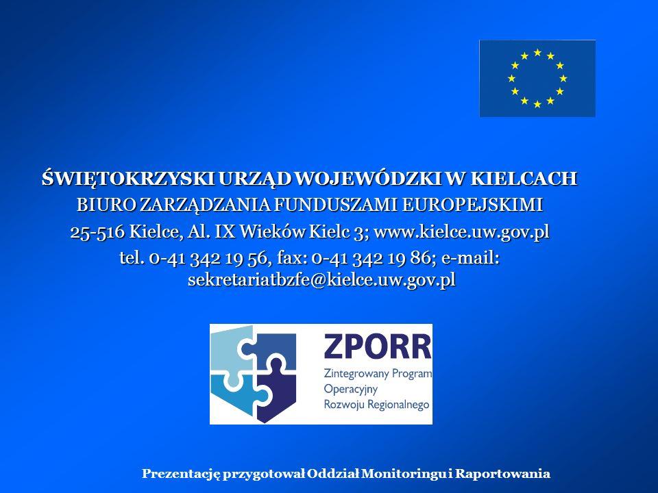 ŚWIĘTOKRZYSKI URZĄD WOJEWÓDZKI W KIELCACH BIURO ZARZĄDZANIA FUNDUSZAMI EUROPEJSKIMI 25-516 Kielce, Al.