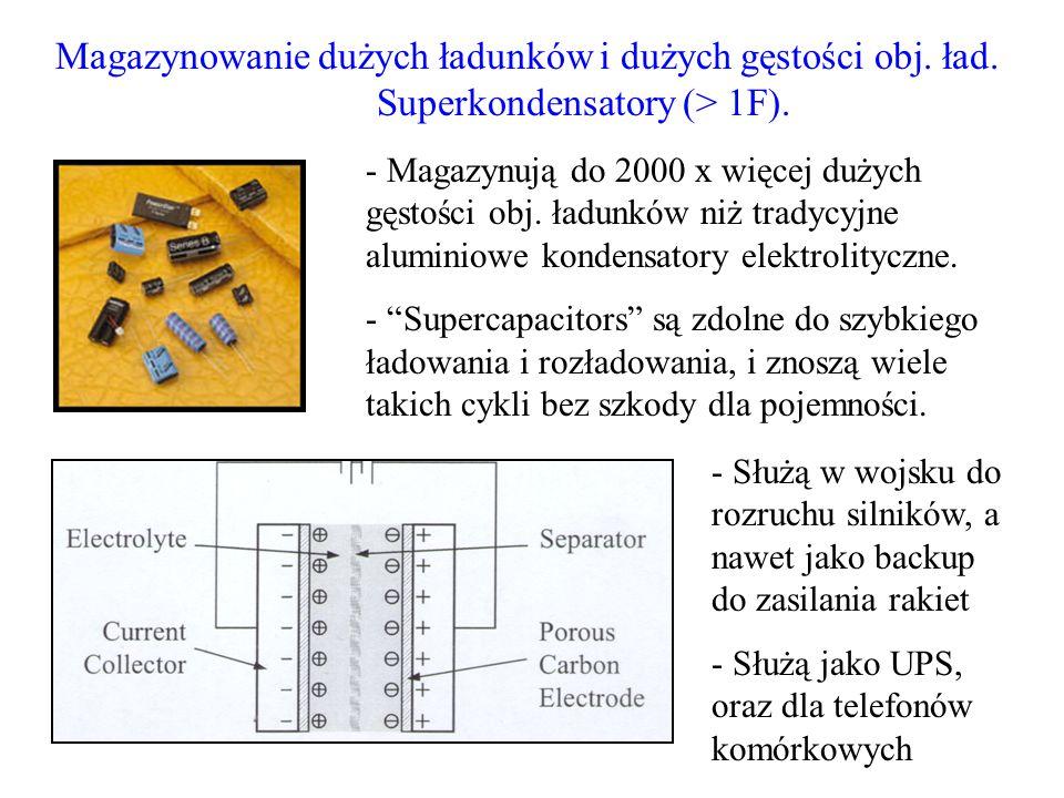 Magazynowanie dużych ładunków i dużych gęstości obj. ład. Superkondensatory (> 1F). - Magazynują do 2000 x więcej dużych gęstości obj. ładunków niż tr