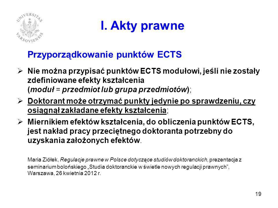 Przyporządkowanie punktów ECTS Nie można przypisać punktów ECTS modułowi, jeśli nie zostały zdefiniowane efekty kształcenia (moduł = przedmiot lub gru