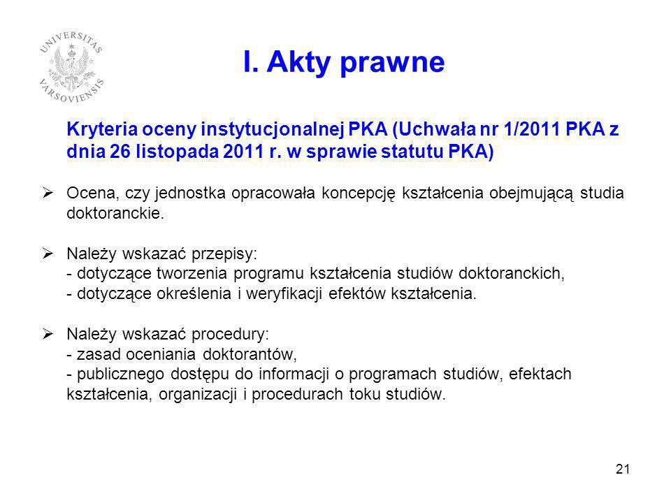 Kryteria oceny instytucjonalnej PKA (Uchwała nr 1/2011 PKA z dnia 26 listopada 2011 r. w sprawie statutu PKA) Ocena, czy jednostka opracowała koncepcj