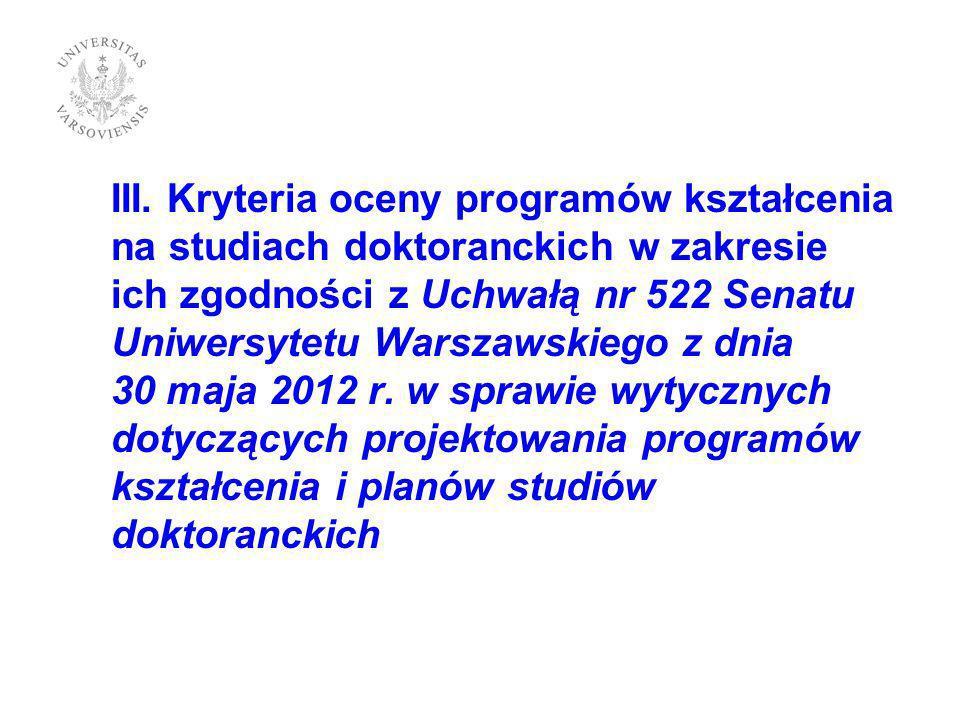 III. Kryteria oceny programów kształcenia na studiach doktoranckich w zakresie ich zgodności z Uchwałą nr 522 Senatu Uniwersytetu Warszawskiego z dnia