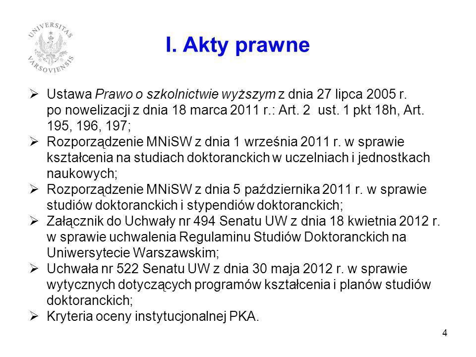 Ustawa Prawo o szkolnictwie wyższym z dnia 27 lipca 2005 r. po nowelizacji z dnia 18 marca 2011 r.: Art. 2 ust. 1 pkt 18h, Art. 195, 196, 197; Rozporz