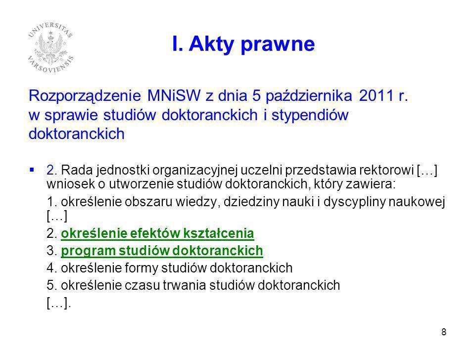 Rozporządzenie MNiSW z dnia 5 października 2011 r. w sprawie studiów doktoranckich i stypendiów doktoranckich 2. Rada jednostki organizacyjnej uczelni