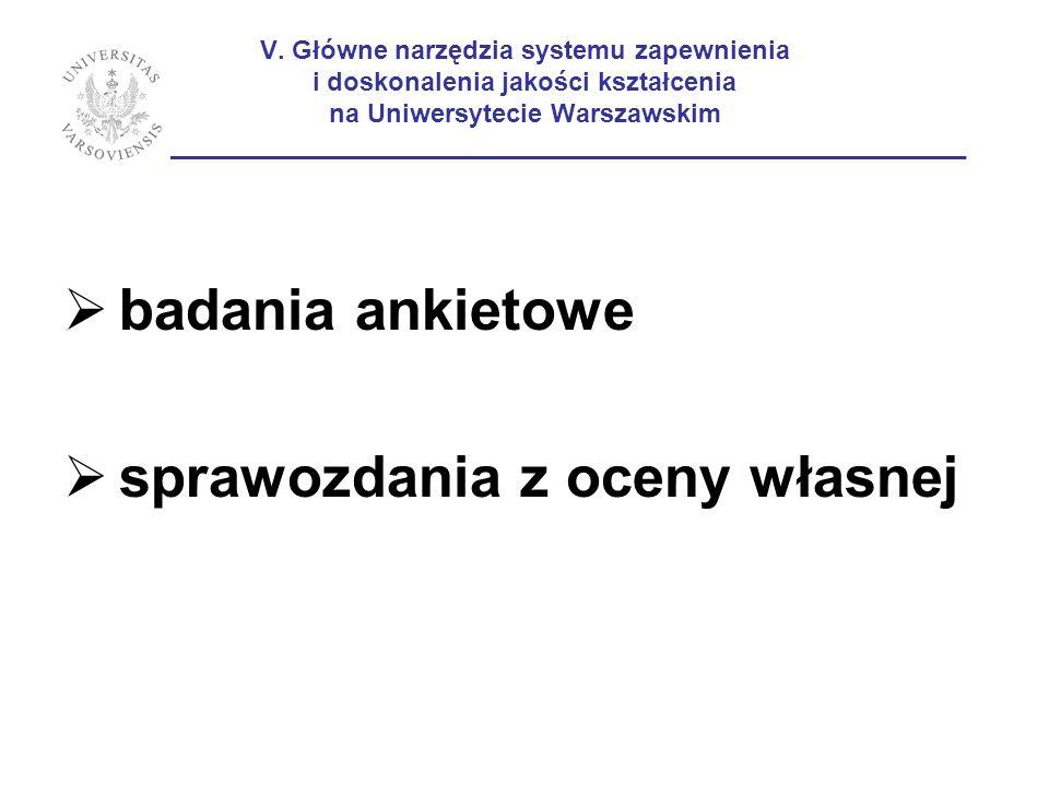 V. Główne narzędzia systemu zapewnienia i doskonalenia jakości kształcenia na Uniwersytecie Warszawskim ______________________________________________