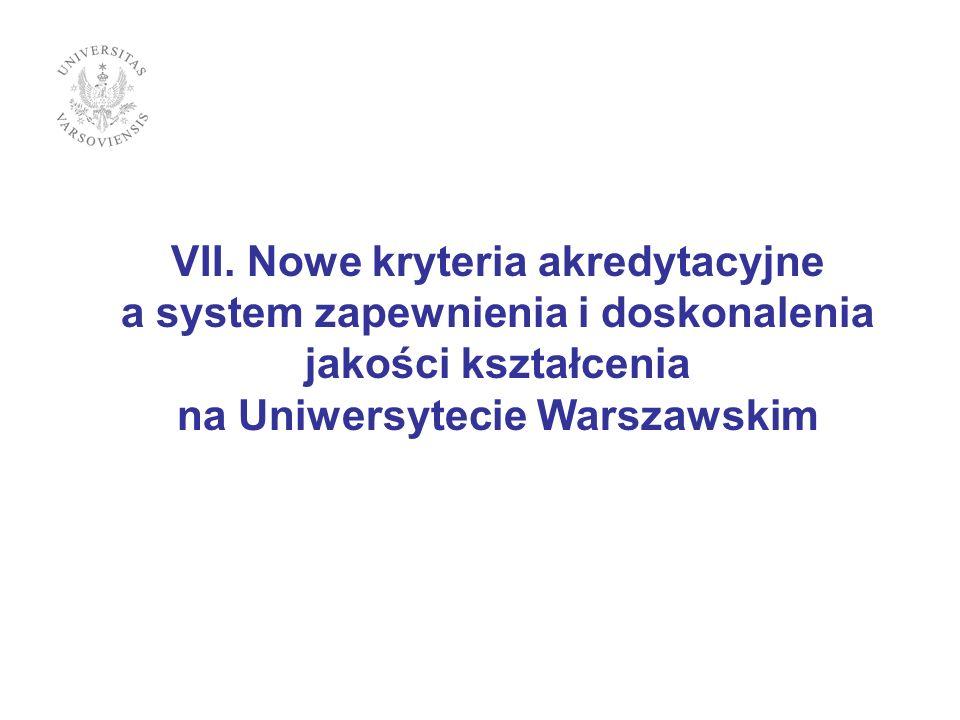 VII. Nowe kryteria akredytacyjne a system zapewnienia i doskonalenia jakości kształcenia na Uniwersytecie Warszawskim