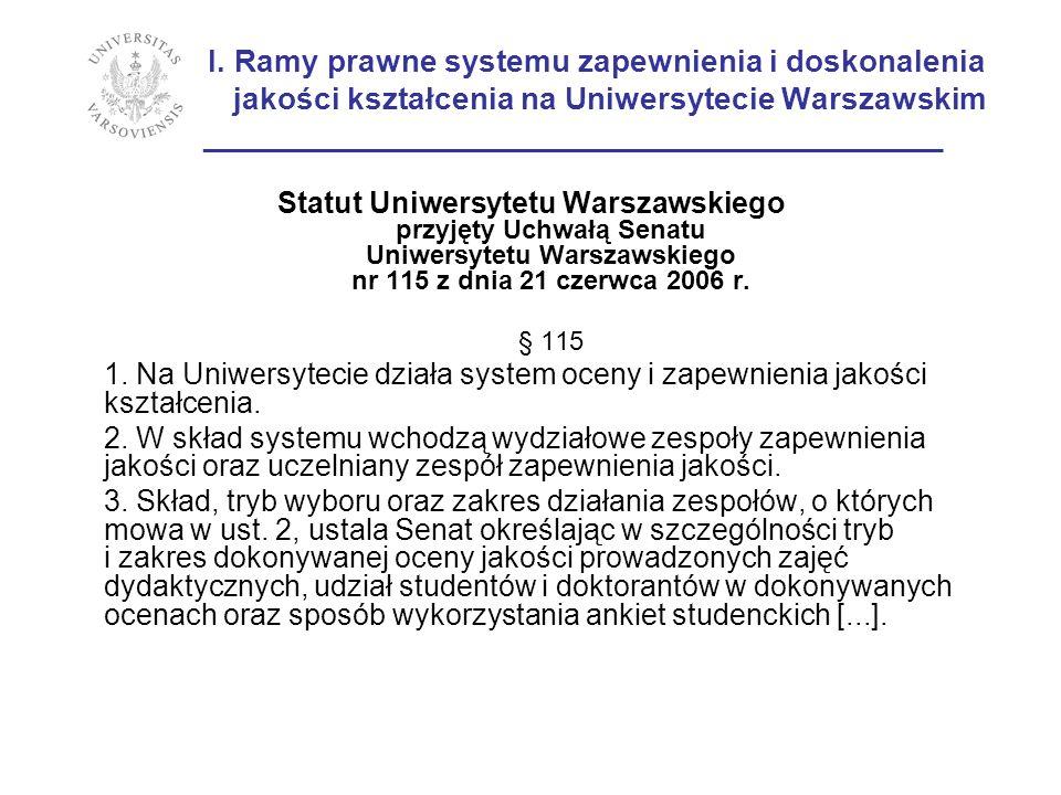 I. Ramy prawne systemu zapewnienia i doskonalenia jakości kształcenia na Uniwersytecie Warszawskim ___________________________________________ Statut