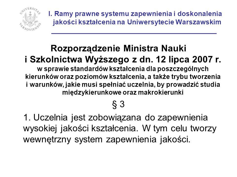 I. Ramy prawne systemu zapewnienia i doskonalenia jakości kształcenia na Uniwersytecie Warszawskim ___________________________________________ Rozporz
