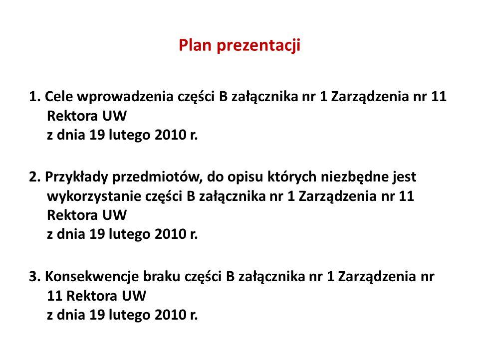 Plan prezentacji 1. Cele wprowadzenia części B załącznika nr 1 Zarządzenia nr 11 Rektora UW z dnia 19 lutego 2010 r. 2. Przykłady przedmiotów, do opis