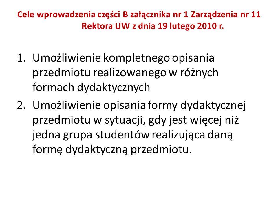Cele wprowadzenia części B załącznika nr 1 Zarządzenia nr 11 Rektora UW z dnia 19 lutego 2010 r. 1.Umożliwienie kompletnego opisania przedmiotu realiz