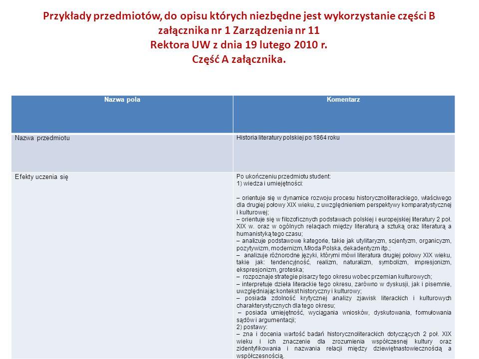 Przykłady przedmiotów, do opisu których niezbędne jest wykorzystanie części B załącznika nr 1 Zarządzenia nr 11 Rektora UW z dnia 19 lutego 2010 r.