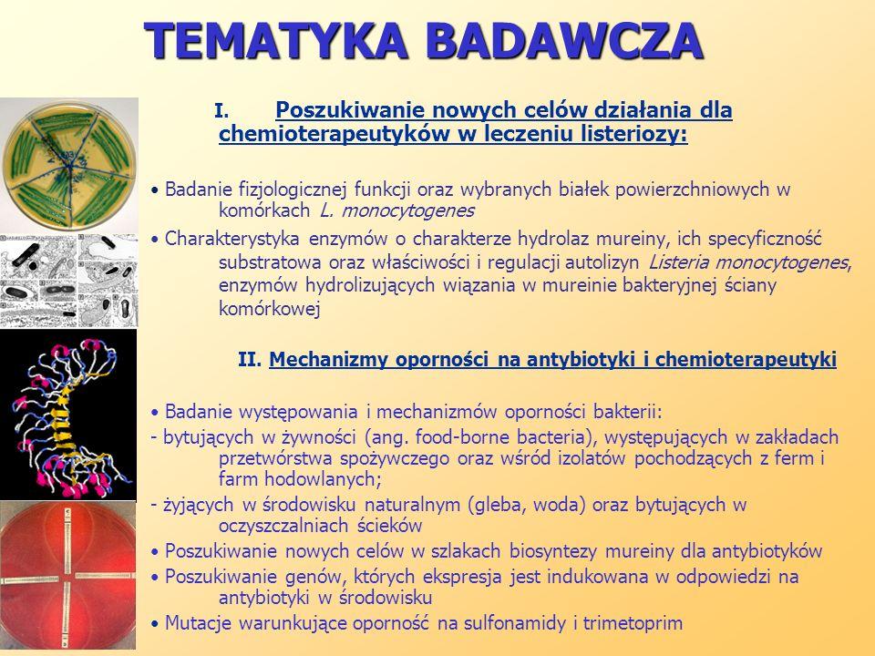 TEMATYKA BADAWCZA I. Poszukiwanie nowych celów działania dla chemioterapeutyków w leczeniu listeriozy: Badanie fizjologicznej funkcji oraz wybranych b